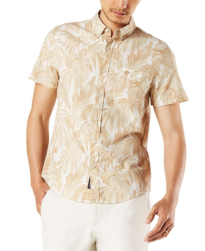 Dockers - Men's Slim-Fit Fern Print Alpha Icon Short Sleeve Shirt