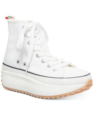 high top white platform sneakers