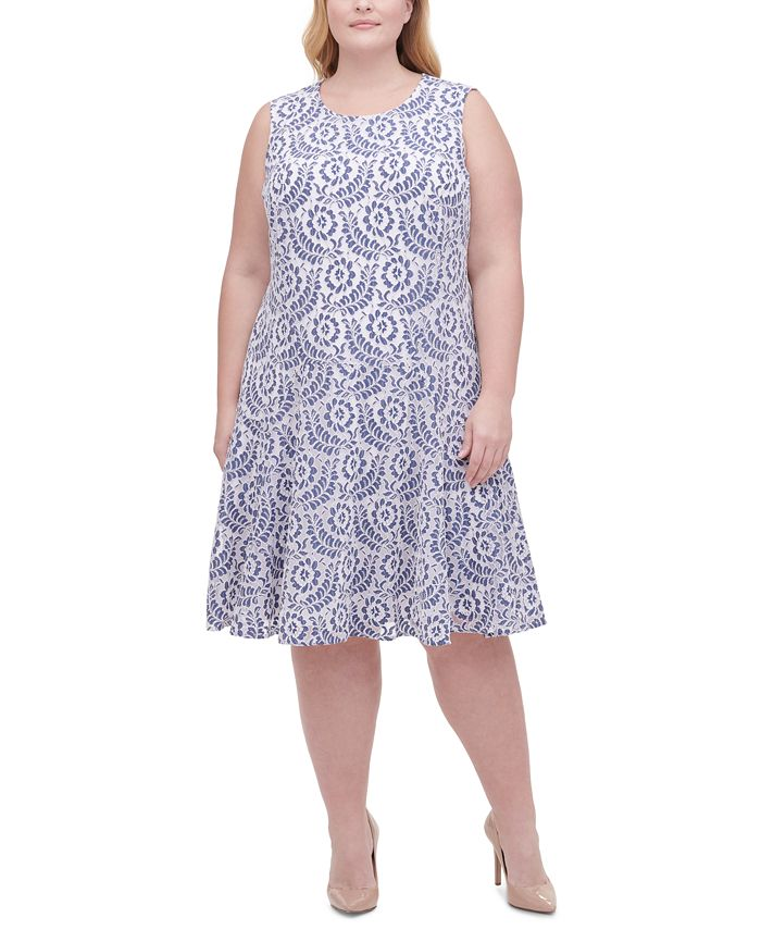 Tommy Hilfiger - Plus Size Dahlia Flower Lace Fit & Flare Dress