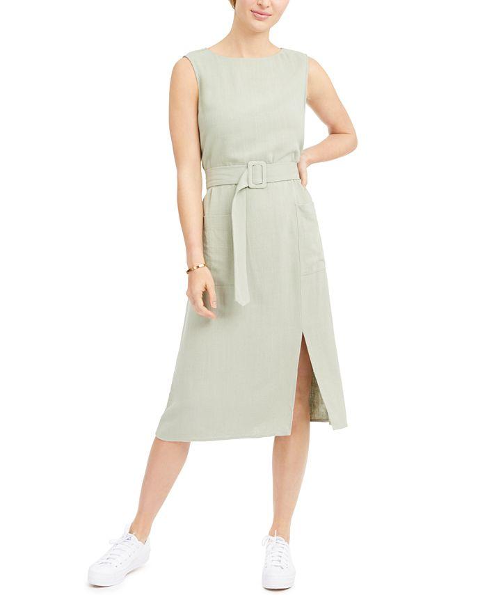 Monteau - Petite Belted Sleeveless Linen-Blend Midi Dress