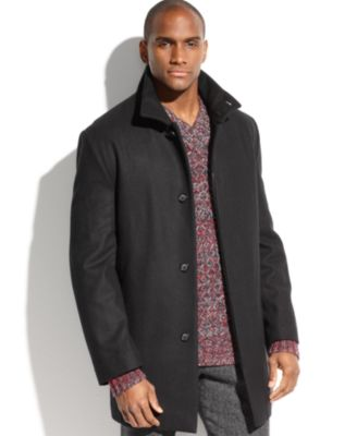 Perry Ellis Coat, Wool-Blend Walking Coat - Coats & Jackets - Men ...