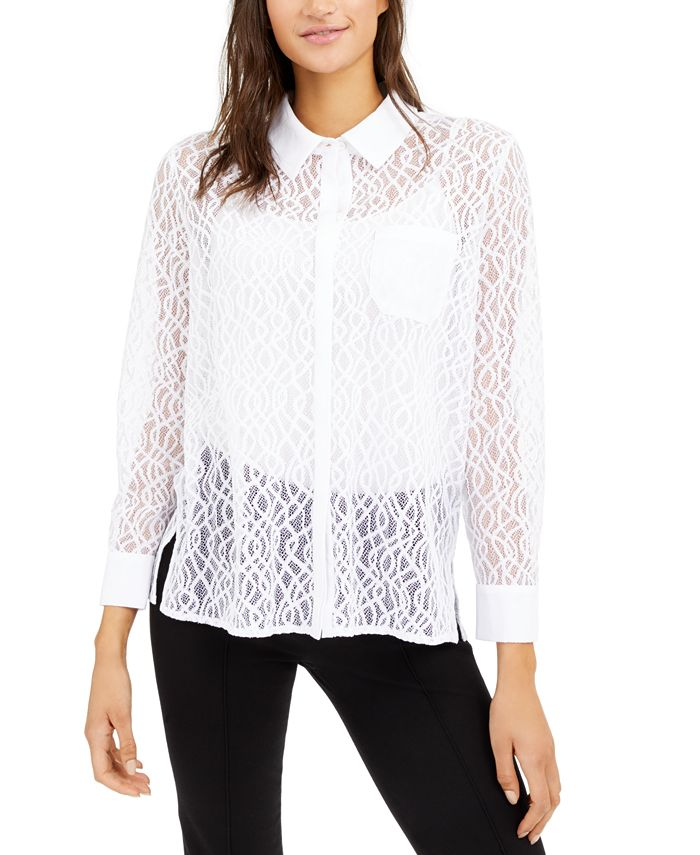 Alfani - Lace Button-Down Top, Created For Macy's