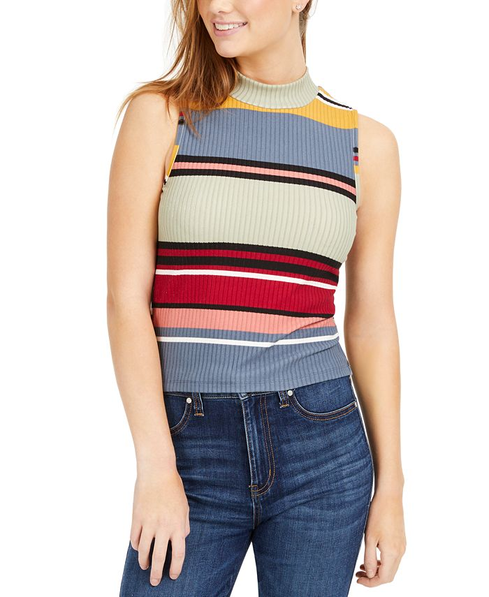 Planet Gold - Juniors' Striped Rib-Knit Mock-Neck Tank Top