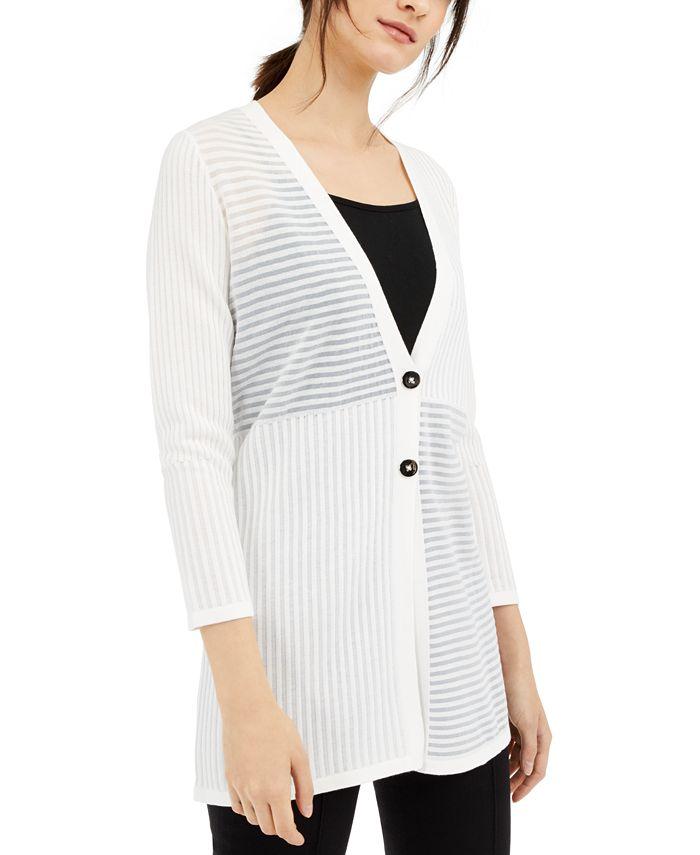 Alfani - Shadow-Stripe Ribbed Cardigan, Created For Macy's