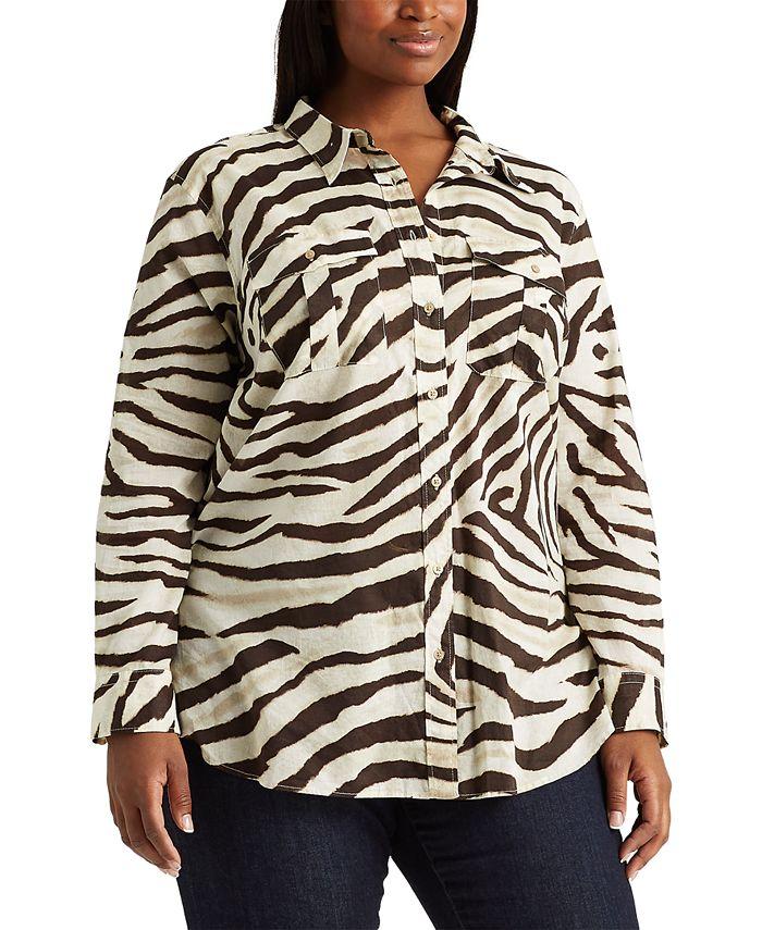 Lauren Ralph Lauren - Plus-Size Print Cotton Shirt