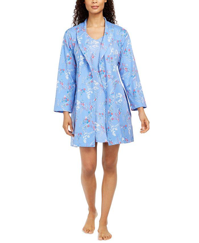 Charter Club - Cotton Floral-Print Wrap Robe