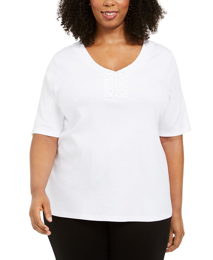 Karen Scott - Plus Size V-Neck Crochet Top