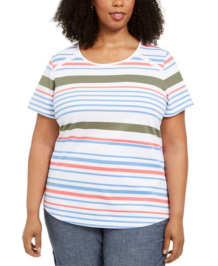 Karen Scott - Plus Size Striped Grommet T-Shirt