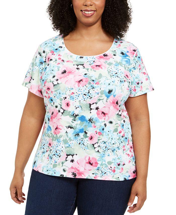 Karen Scott - Plus Size Floral-Print T-Shirt