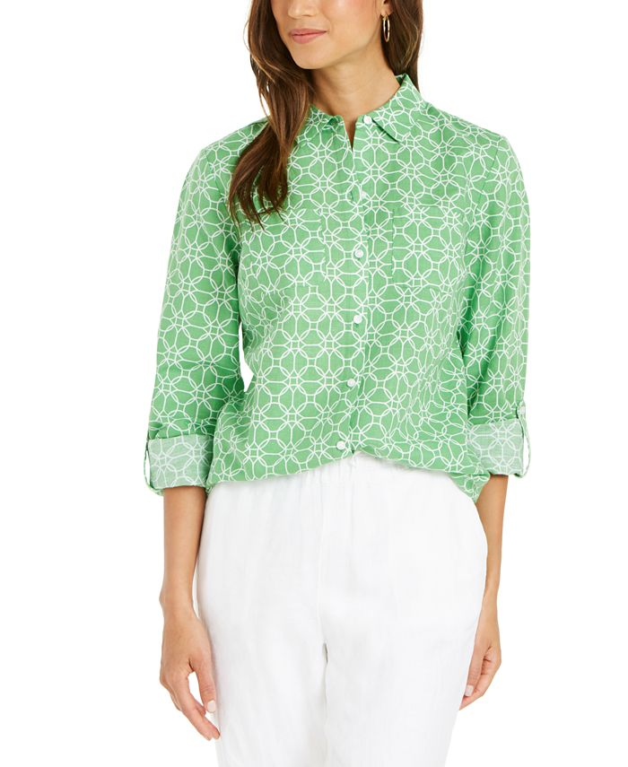 Charter Club - Petite Printed Button-Front Roll-Tab-Sleeve Top