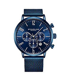 Stuhrling Men's Blue Mesh Stainless Steel Bracelet Watch 48mm