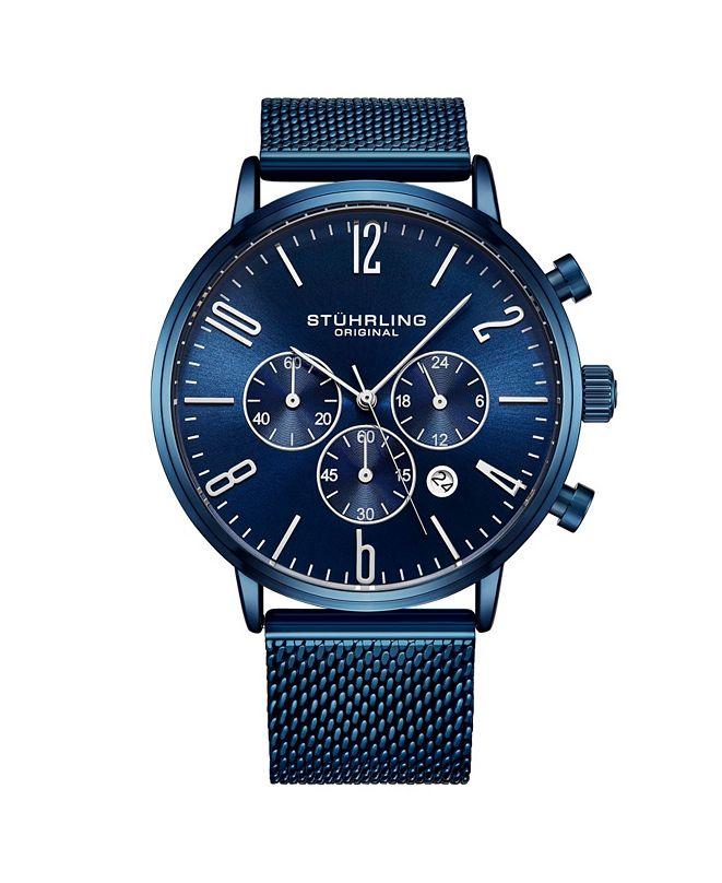 Stuhrling Men's Blue Mesh Stainless Steel Bracelet Watch 48mm