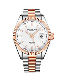 Stuhrling Men's Silver Tone - Rose Gold Layered Stainless Steel Bracelet Watch 42mm