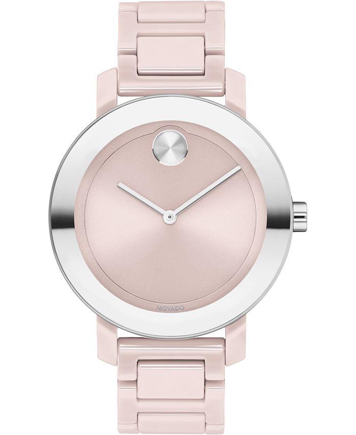 Movado - Women's Swiss Bold Blush Ceramic Bracelet Watch 36mm