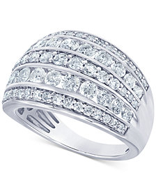 Diamond Multi-Row Statement Ring (2 ct. t.w.) in 14k White Gold (Also available in Yellow or Rose Gold)