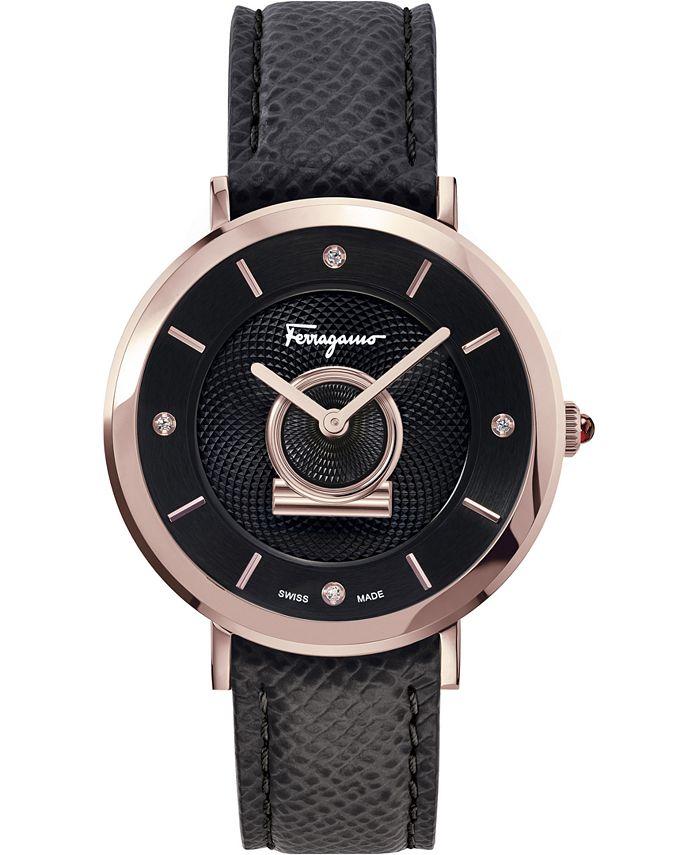 Ferragamo - Women's Swiss Minuetto Diamond Accent Black Calf Leather Strap Watch 36mm