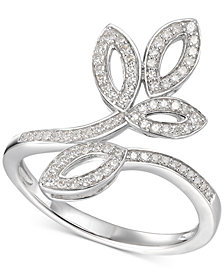 Diamond Leaf-Inspired Statement Ring (1/4 ct. t.w.) in Sterling Silver