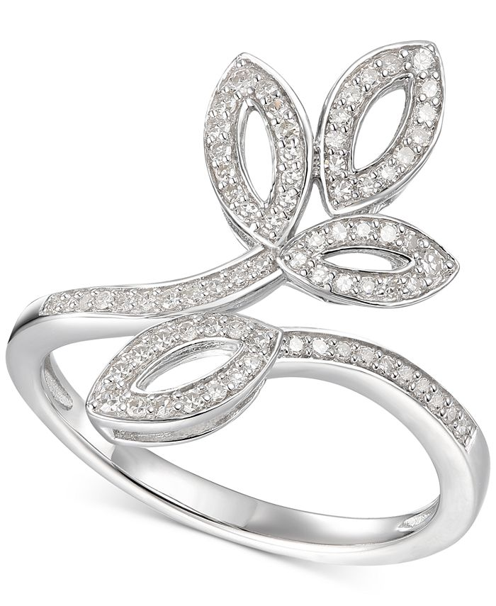 Macy's - Diamond Leaf-Inspired Statement Ring (1/4 ct. t.w.) in Sterling Silver
