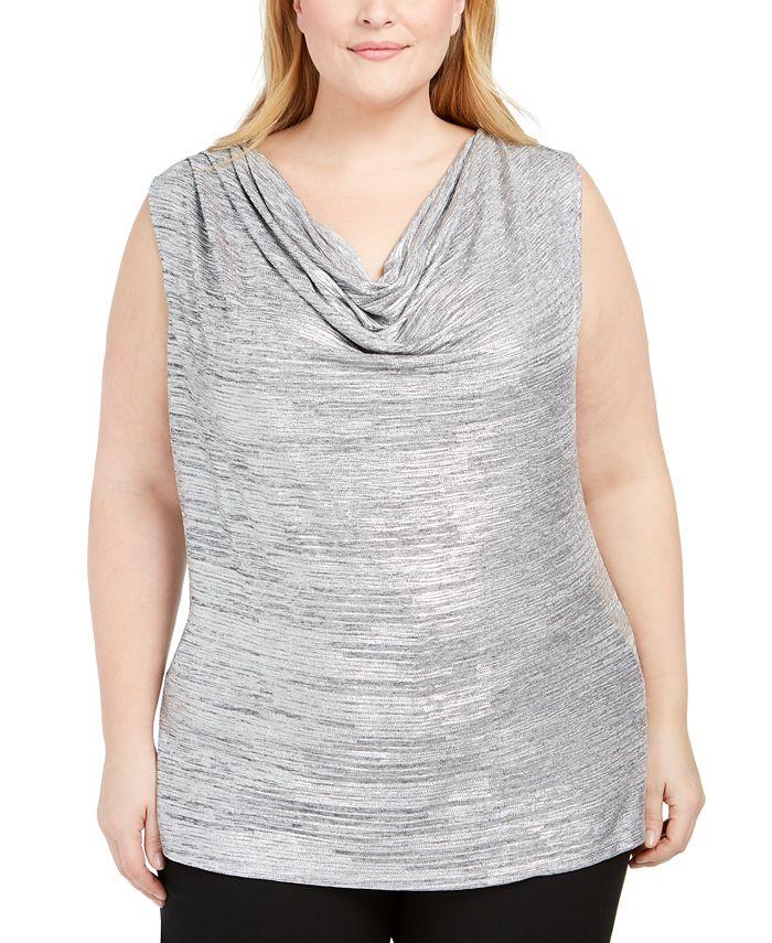 Calvin Klein - Plus Size Cowlneck Foil Top