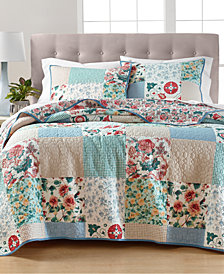 LAST ACT! Martha Stewart Collection Country Flora Patchwork Reversible Quilt and Sham Collection, Created for Macy's