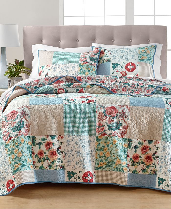 Martha Stewart Collection - Country Flora Patchwork Reversible Full/Queen Quilt