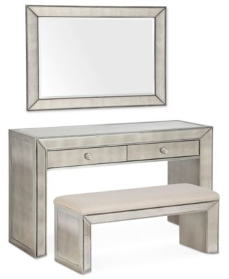 Sophia Mirrored Collection 3 Piece Set TV Stand Bench Mirror