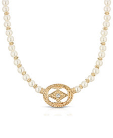2028 Gold-Tone Imitation Pearl and Crystal Pendant Necklace