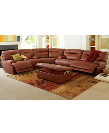 Ricardo Leather Sectional Living Room Furniture Collection, Power ...