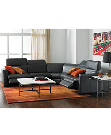 Nicolo Leather Sectional Living Room Furniture Sets & Pieces ...