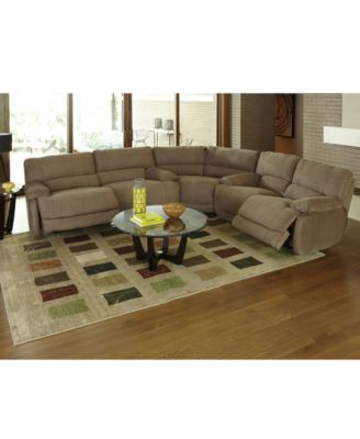 Nina Fabric Reclining Sectional Sofa, 3 Piece Power Recliner (2 Sofas And  Wedge)