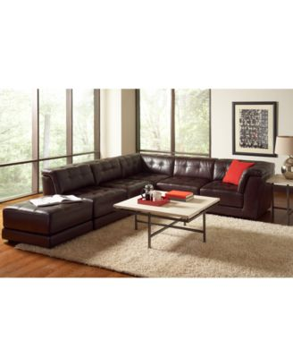 Stacey Leather Sectional Sofa Stacey Leather 5 Piece Modular Sectional Sofa 2 Armless Chairs
