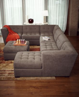 roxanne fabric 6-piece modular sectional sofa (corner unit, chaise