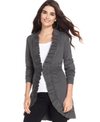 Style&co. Long-Sleeve Ruffle-Trim Cardigan - Sweaters - Women - Macy's