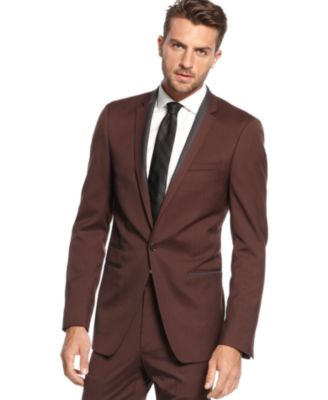 Andrew Fezza Suit Maroon Solid Slim Fit - Suits & Suit Separates