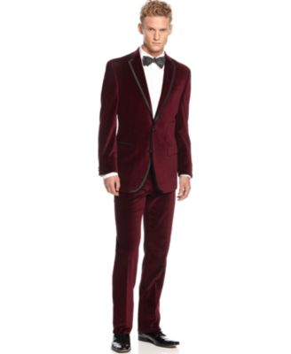 Tallia Suit Maroon Velvet with Black Piping Slim Fit - Suits