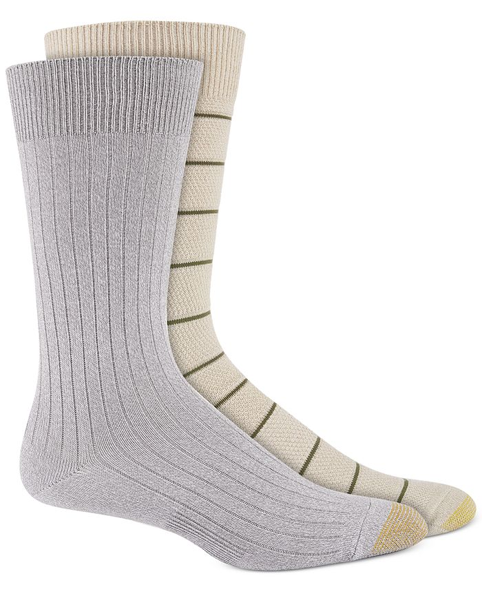 Gold Toe - Men's 2-Pk. Textured Stripes Crew Socks