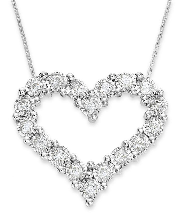 TruMiracle - Diamond Heart Pendant in 10k White Gold (1/2 ct. t.w.)