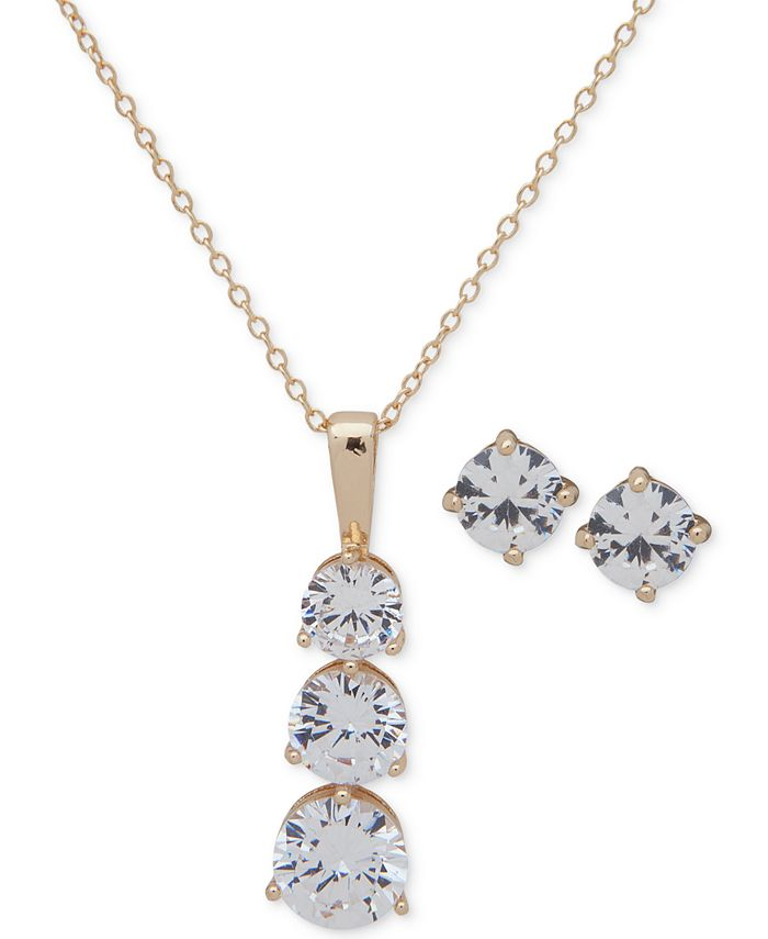 Anne Klein - Gold-Tone Crystal Stud Earrings & Pendant Necklace