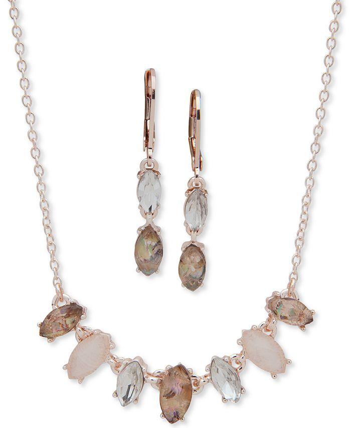 Anne Klein - Gold-Tone Multi-Stone Collar Necklace & Drop Earrings Set