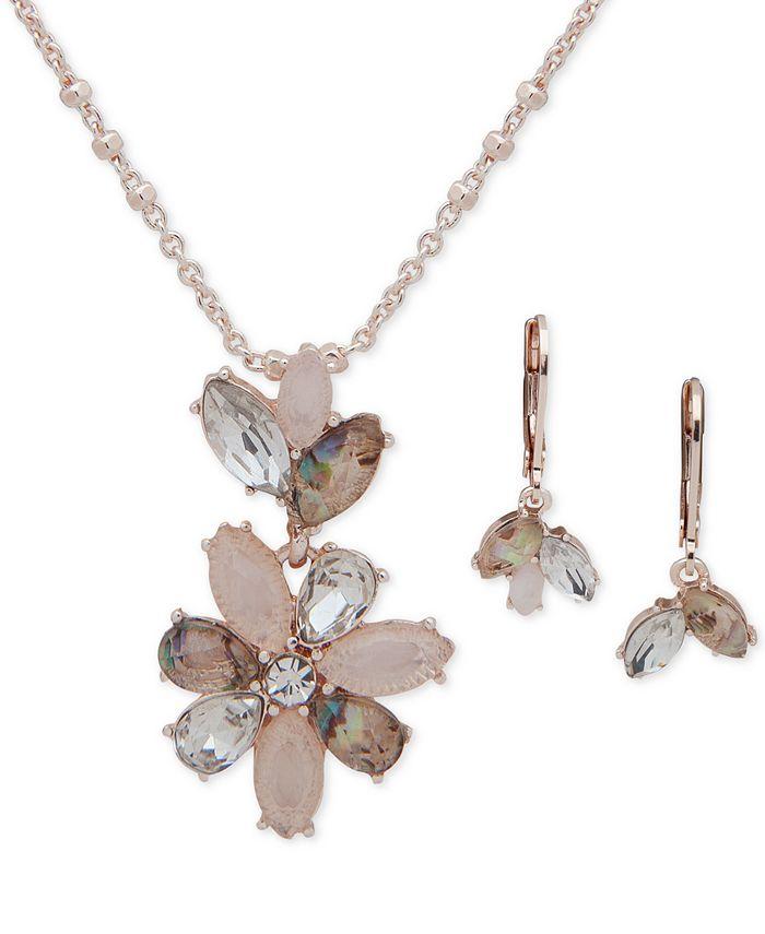 Anne Klein - Navette Stone Drop Earrings & Pendant Necklace