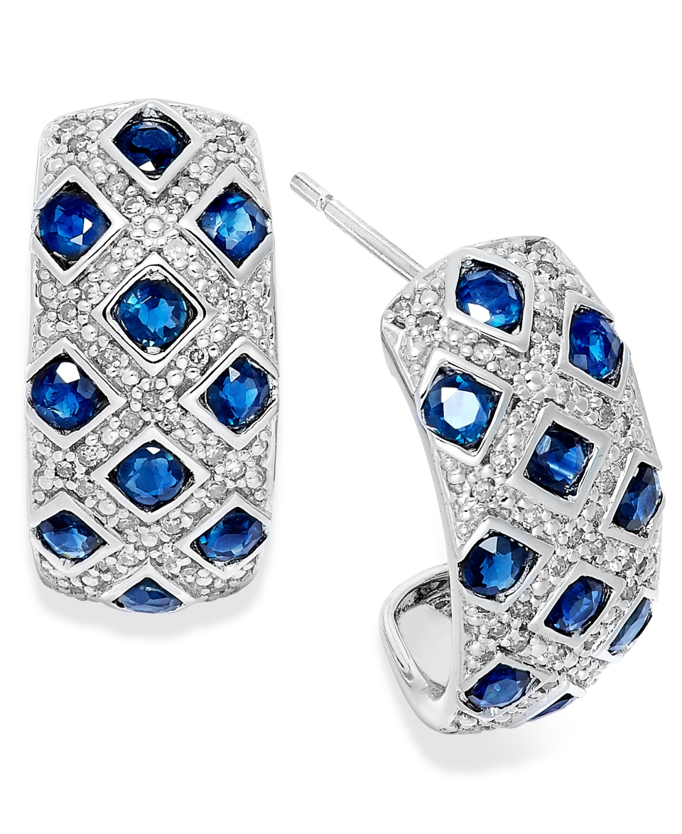 Sterling Silver Earrings, Sapphire (2 ct. t.w.) and Diamond (1/5 ct. t.w.) Woven Earrings   Earrings   Jewelry & Watches