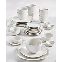 42-Piece Tabletops Unlimited Whiteware Soft Square Dinnerware Set (Service for 6)