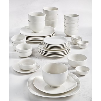 42-Piece Tabletops Unlimited Whiteware Soft Square Dinnerware Set