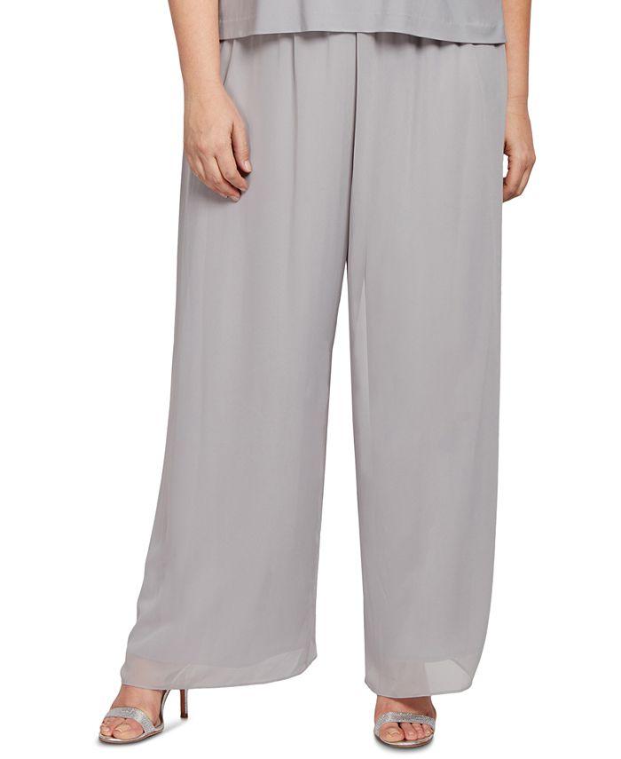Alex Evenings - Plus Size Wide-Leg Chiffon Pants