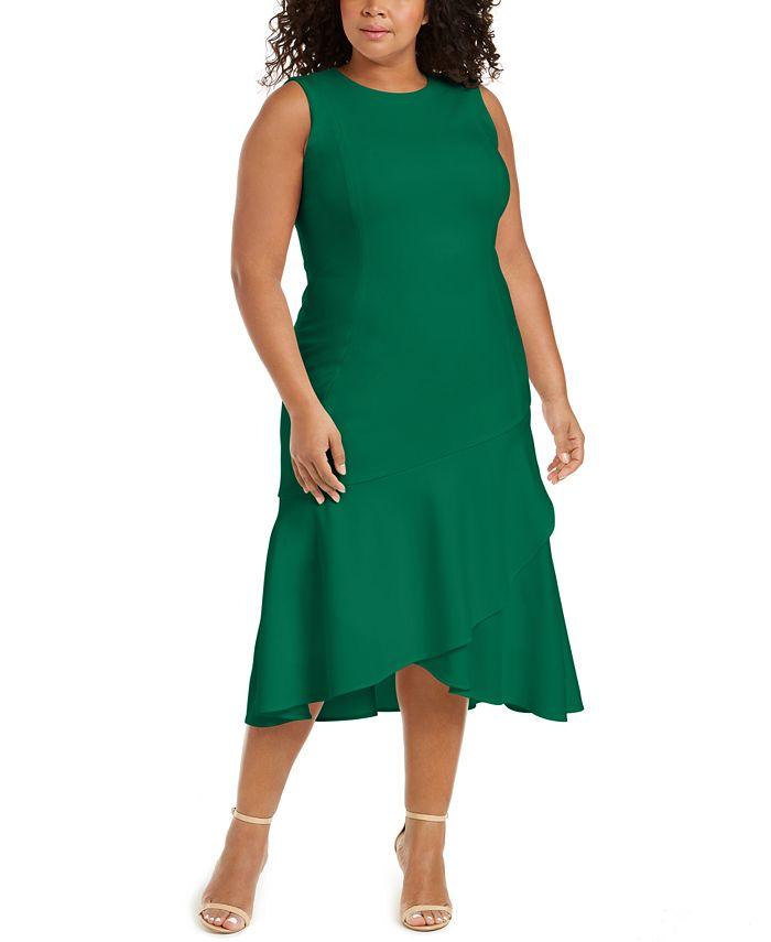 Calvin Klein - Plus Size Ruffled High-Low Midi Dress