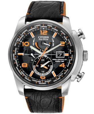 citizen s eco drive world time a t black leather