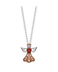 Gratitude & Grace Rose Gold Two-Tone Cubic Zirconia Angel Pendant Necklace