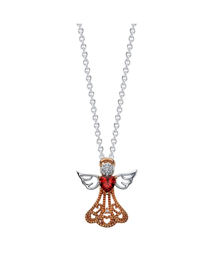 Unwritten - Rose Gold Two-Tone Cubic Zirconia Angel Pendant Necklace