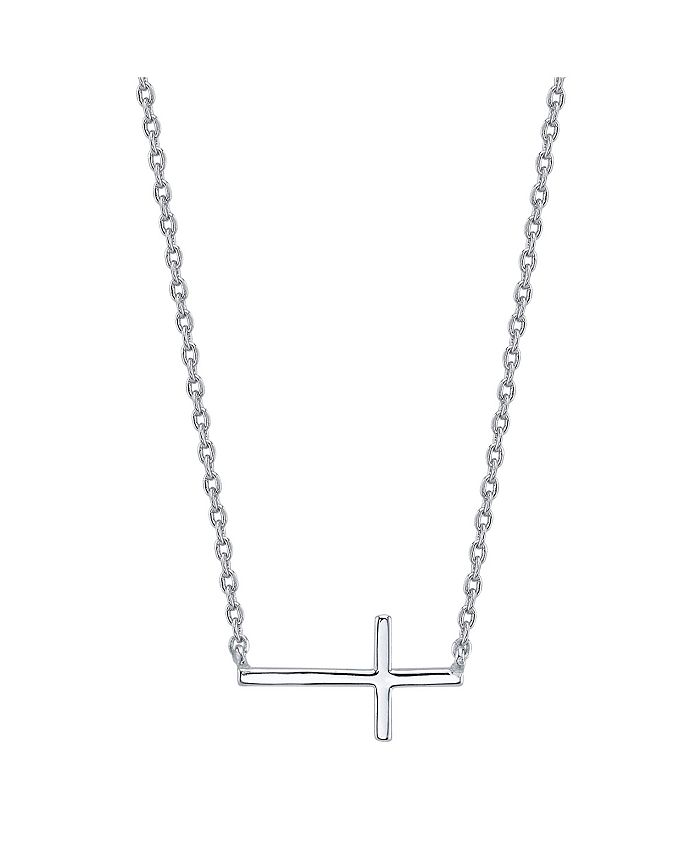Unwritten - Thin East West Cross Station Necklace in Fine Silver Plate