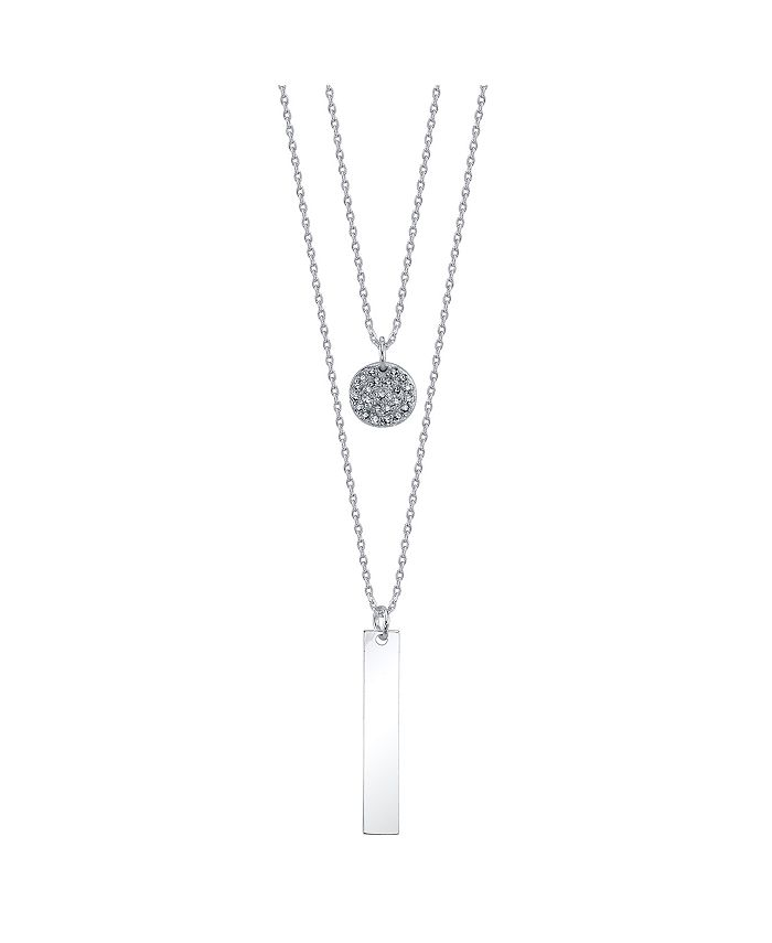Unwritten - Bar and Cubic Zirconia Disk Duo Necklace in Fine Silver Plate